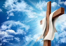 Resurrection Or Crucifixion. Christian Easter Concept. Wooden Cross On Sky Background With Clouds. 3d Illustration
