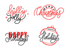 Holly Jolly, Merry Christmas, Happy Holidays Text