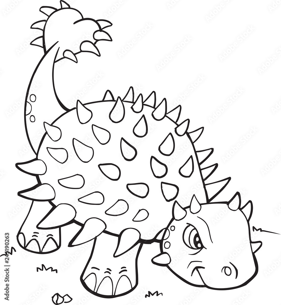 Printed kitchen splashbacks Ankylosaurus Dinosaur Coloring ...