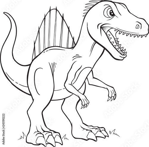 Spoed Foto op Canvas Cartoon draw Spinosaurus Dinosaur Coloring Page Vector Illustration Art