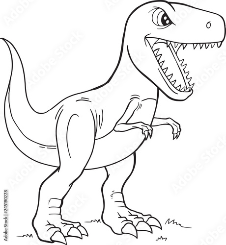 Spoed Foto op Canvas Cartoon draw Tyrannosaurus Rex Dinosaur Coloring Page Vector Illustration Art