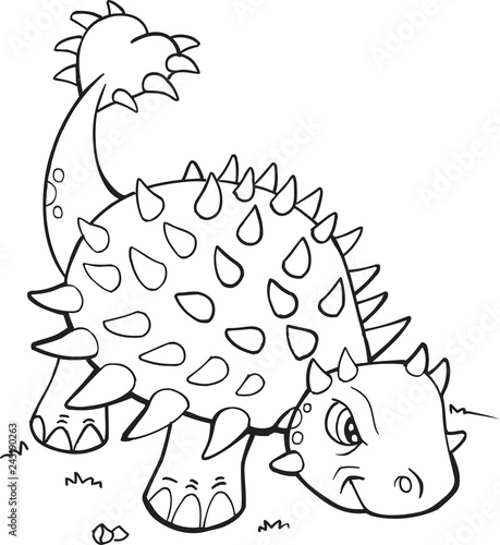 Spoed Fotobehang Cartoon draw Ankylosaurus Dinosaur Coloring Page Vector Illustration Art
