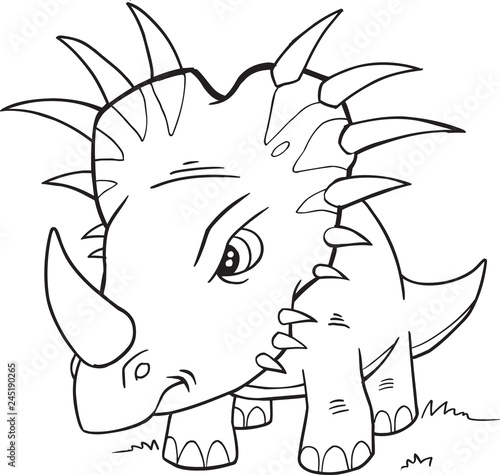Spoed Fotobehang Cartoon draw Styracosaurus Dinosaur Coloring Page Vector Illustration Art