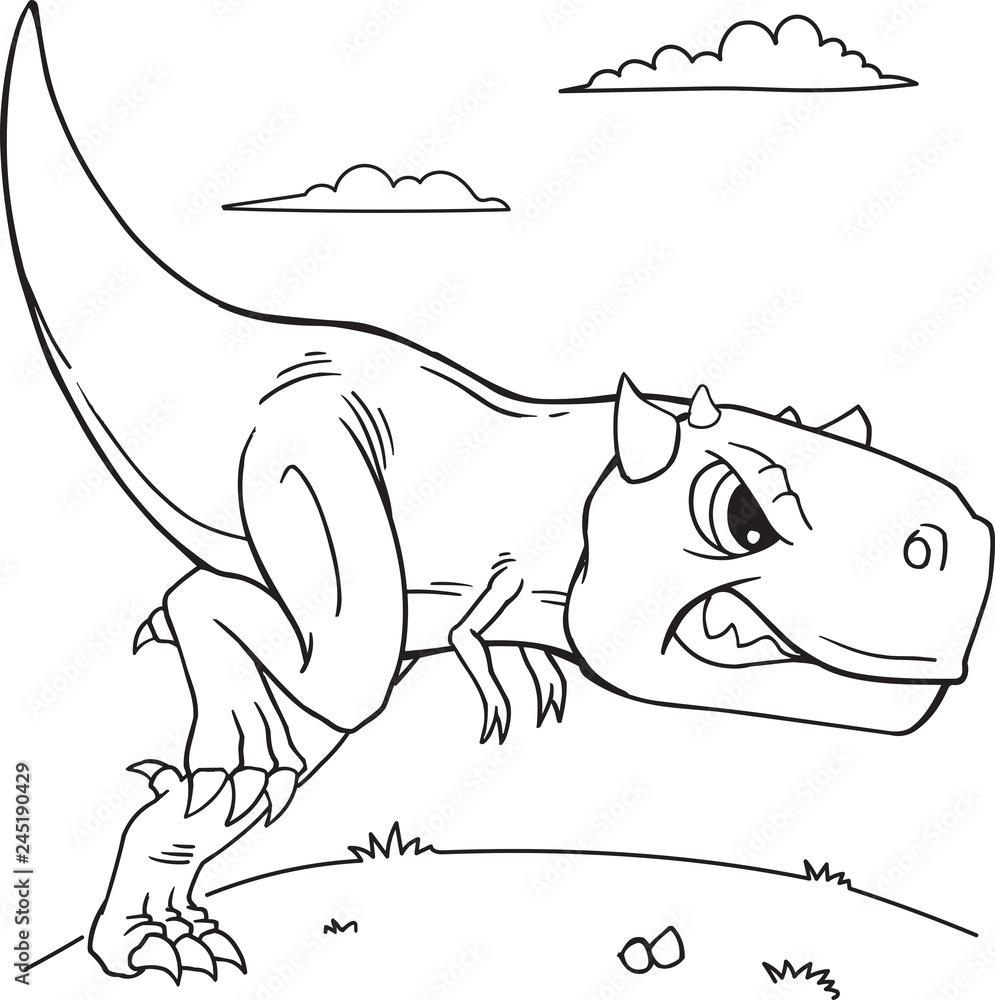 Poster Carnotaurus Dinosaur Coloring Page Vector ...