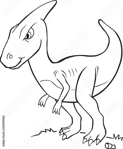 Spoed Foto op Canvas Cartoon draw Dinosaur Vector Coloring Page Illutration Art