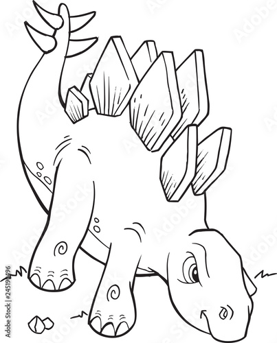 Spoed Foto op Canvas Cartoon draw Stegosaurus Dinosaur Coloring Page Vector Illustration Art