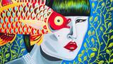 dipinto banner donna con pesce gioielleria  - 245190866