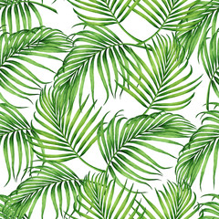Fototapeta Do sypialni Watercolor painting coconut,banana,palm leaf,green leaves seamless pattern background.Watercolor hand drawn illustration tropical exotic leaf prints for wallpaper,textile Hawaii aloha jungle style.