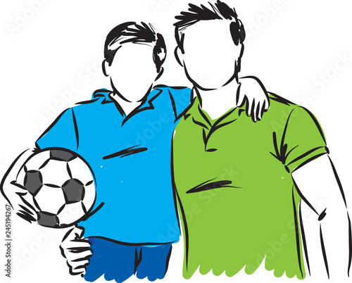 Fotografia  father and son with soccer ball vector illustration