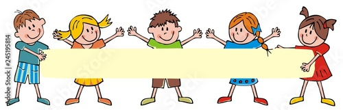 Happy children and banner, group of cheerful kids on white background, vector funny illustration. Colored creative illustration.