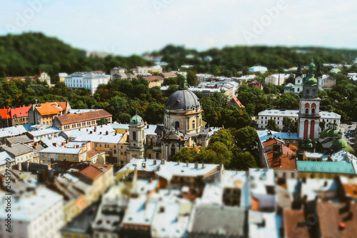Recess Fitting Eastern Europe aerial view of the city Lviv in Ukraine