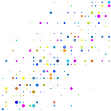 The Bright Colorful Dots On A White Background.