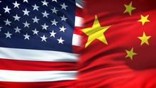 United States And China Flags Background, Diplomatic And Economic Relations