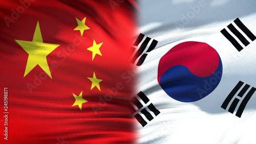 Fotografía  China and South Korea flags background, diplomatic and economic relations