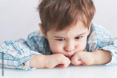 Obraz na płótnie portrait of a cute little boy naughty face