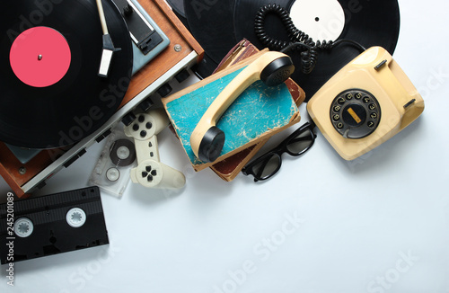 Fotografie, Obraz Retro 80s pop culture objects on white background