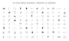 Big Wedding And Romantic Logo Elements Set. Vector Hand Drawn Objects.