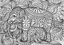 Indian Elephant Doodle Colorin...
