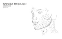 Low Poly Female Human Face Biometric Identification. Recognition System Concept. Personal Data Secure Access Scanning Innovation Technology. 3D Polygonal Rendering Vector Illustration