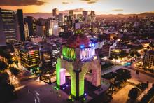 Mexico City, Mexico, Aerial View Of Plaza De La Republica At Dusk