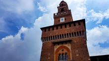 View Of Sforza Castle In Milan, Italian Architecture, Famous Ancient Landmark