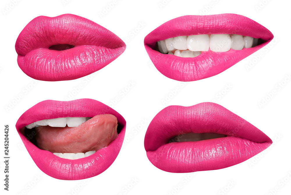 Fototapety, obrazy: Set of mouths with beautiful make-up isolated on white. Pink lipstick