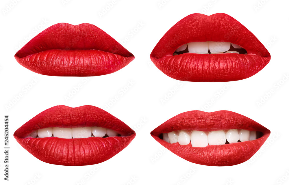 Fototapety, obrazy: Set of mouths with beautiful make-up isolated on white. Red lipstick