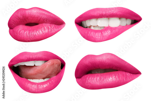 Fotografie, Obraz  Set of mouths with beautiful make-up isolated on white