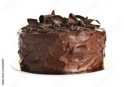 Tasty homemade chocolate cake on white background