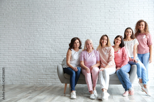 Obraz Group of women with silk ribbons on sofa against brick wall, space for text. Breast cancer awareness concept - fototapety do salonu