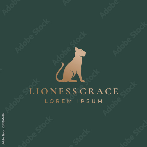 Lioness Grace Abstract Vector Sign, Emblem or Logo Template Canvas Print