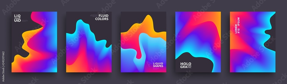 Fototapety, obrazy: Set of Abstract Gradient Wavys. Modern Covers Template Design for Presentation, Magazines, Flyers, Social Media Templates. Vector EPS 10