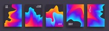 Set Of Abstract Gradient Wavys...