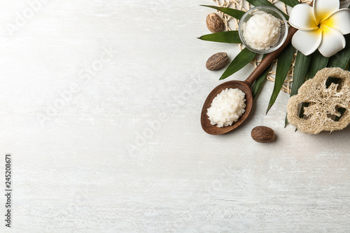 Fotografie, Obraz  Flat lay composition with Shea butter and nuts on light background