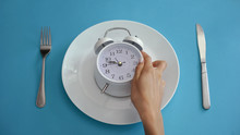 Daily Regime, Alarm Clock On Plate, Adhere To Diet Time, Proper Nutrition