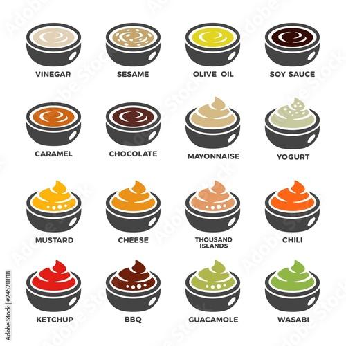 zestaw ikon sos, przyprawa, wektor i ilustracji
