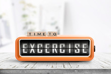 Time To Excercise Message On An Alarm Clock