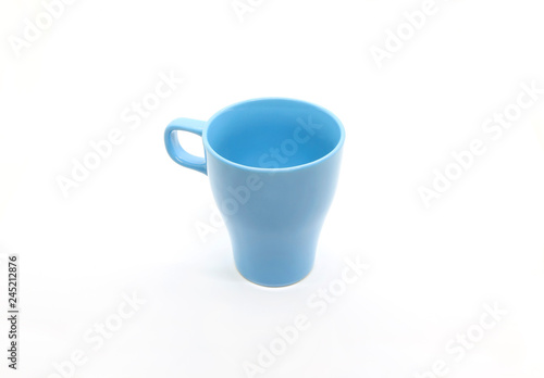 Bright blue ceramic cup isolated on white