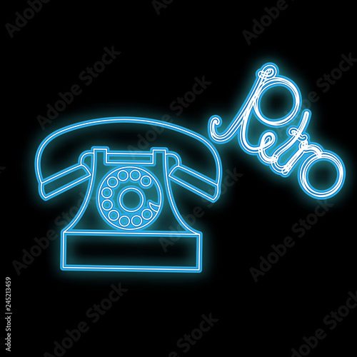 Beautiful blue bright glowing abstract neon icon, signboard of old