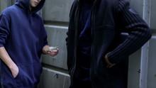 Addicted Teenage Boy Buys Pills From Drug Dealer, Illegal Trade, Juvenile Crime