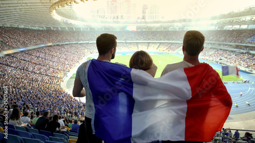 Football fans with French flag jumping at stadium, cheering for national team Canvas Print
