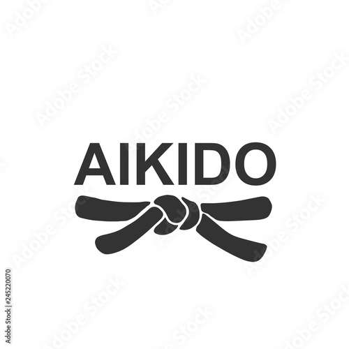 Aikido - vector stylized font with black belt of japanese martial arts on white background Wallpaper Mural