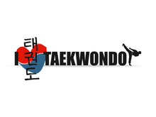 Hand Drawn Hieroglyph Translates Taekwondo. Vector Korean Martial Art Symbols On White Background With Red And Blue Heart Stamp And Man Do  Kick. Ink Brush Korea Calligraphy Font.
