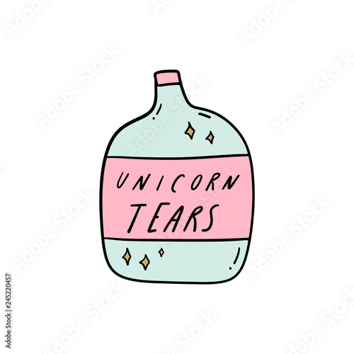 Unicorn tears bottle doodle art. Vector illustration. Wallpaper Mural