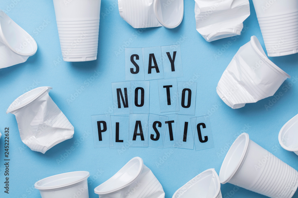 Fototapety, obrazy: Say no to plastic message with a single use cup
