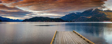 Boat Dock On Harrison Lake At Sunset. Harrison Lake Is The Largest Lake In The Southern Coast Mountains Of Canada And Home To The Historic Harrison Hot Springs Resort.