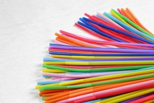 Colorful Plastic Drinking Straws Close Up