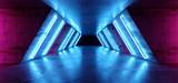 Fototapeta Do przedpokoju - Futuristic Sci Fi Modern Realistic Neon Glowing Purple Pink Blue Led Laser Light Tubes In Grunge Rough Concrete Reflective Dark Empty Tunnel Corridor Background 3D Rendering