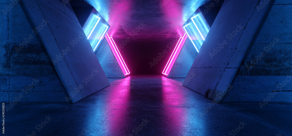 Fototapety, obrazy: Futuristic Sci Fi Modern Realistic Neon Glowing Purple Pink Blue Led Laser Light Tubes In Grunge Rough Concrete Reflective Dark Empty Tunnel Corridor Background 3D Rendering