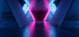 Fototapeta  - Futuristic Sci Fi Modern Realistic Neon Glowing Purple Pink Blue Led Laser Light Tubes In Grunge Rough Concrete Reflective Dark Empty Tunnel Corridor Background 3D Rendering